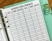 A5 Weight Loss Tracker printed planner insert - weight tracking - fitness goals - daily weigh in - #146