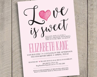 Love is Sweet Bridal Shower DIY PRINTABLE Invitation