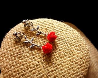 Dainty Red Roses Earrings