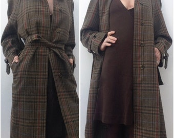 Vintage BURBERRYS wool trench coat plaid RARE!