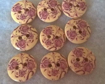 Pack Of 20 Round Pink Rose Decorated Flower Wooden Buttons