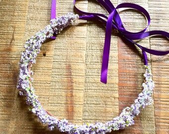 Flower crown. Wreath. Floral headpiece. Wedding floral crown. Lavender floral crown. Flower girls. Pink. Green. Purple. Lavender
