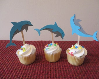 Dolphin Party Picks - Party Picks  - birthday party picks, cupcake toppers,