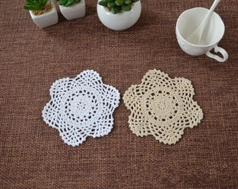 Lot of 12 pcs ~ Vintage style crocheted doilies Round, hand crochet table mats coasters for home decor, round doilies for DIY dream catchers
