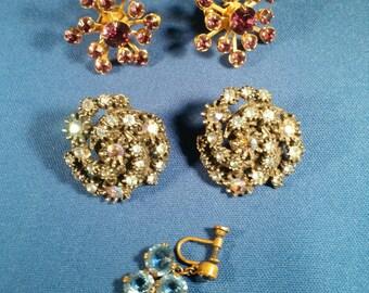 Vintage Rhinestone Earrings and Pins