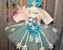 Frozen Birthday Outfit,Frozen Tutu,Frozen Birthday,Frozen Birthday Tutu Outfit,Disney Frozen Clothing,Frozen Theme Outfit,Elsa Birthday Tutu
