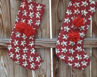 Snowman Christmas stocking, quilted stocking, handmade stocking, fabric stocking, 18 inches long