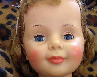 Vintage Patti Play Pal Doll Head - 1960s Honey Blonde Hair - Ideal Doll Co