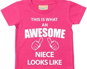 Niece TShirt This Is What An Awesome Niece Looks Like Tshirt Kids Sibling Text Children New Born Gift Present