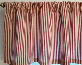 Window valance,  valance, Red ticking valance, kitchen valance,country valance, contemporary valance, Ticking Window Valance,