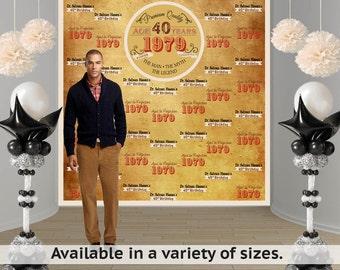 Vintage Birthday Personalized Photo Backdrop -Vintage Dude Photo Backdrop- Milestone Birthday Large Photo Backdrop, 40th Birthday Backdrop