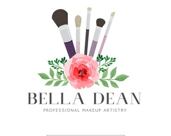 Premade Logo Design | Makeup Artist Logo | Beauty Logo | Floral Logo | Pink Logo | Watercolor Logo | Salon Logo