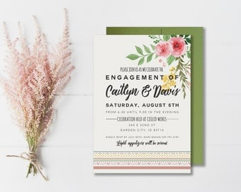 Engagement Party Invitation | Rustic Engagement Party | Rustic Floral Bridal Shower | Floral Bridal Shower Invitation | Printed or Printable