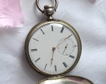 Antique Pocket Watch, Silver M.J. Tobias Engraved Pocket Clock