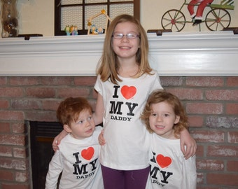 I Love my Daddy, children's t-shirt, girls top, boy top, Valintines day tops