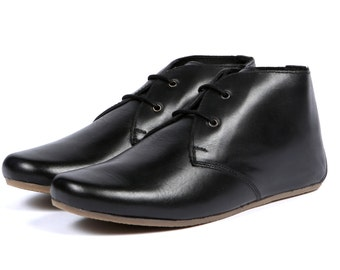 Aspele Black Nappa Leather Flat Chelsea Ankle boots,Lace Up