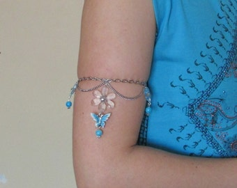 Oriental chain armlet flowers and butterflies, Oriental shoulder jewelry, Upper arm chain jewelry, Flower jewelry