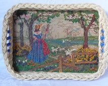 """Vintage Tray Woven Cane Edge with Beads and Nursery Rhyme Picture 'Mary Had a Little Lamb' 11 1/2"""" x 8 1/2"""" or 29cms x 22cms"""