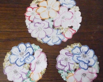 Set of Three Vintage Mid Century Embroidered Mats Buttonhole Stitch Cutwork