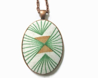 Fabric Necklace, Pendant made from Vintage Feedsack Material, Green, Tan Geometric Necklace, Recycled Jewelry, Boho, Abstract