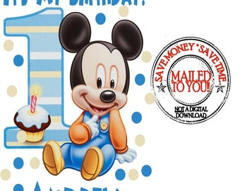 Baby Mickey Mouse 1st Birthday Iron On Transfer