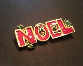 Vintage Gold Brooch Christmas Noel Enamel Costume Jewelry