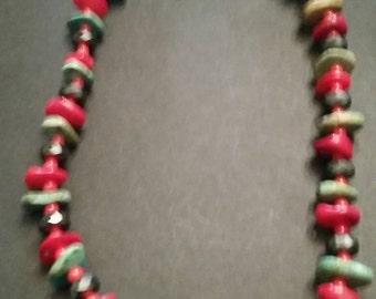 Coral Turquoise Stone Glass Boho Southwestern Necklace