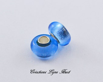 Choose 2 or 5 Murano glass single core beads charm Européan style ! Blue color