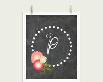 Letter P Chalkboard Polka Dot Floral Frame Curly Font Initial Monogram Instant Art