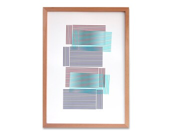 Abstract geometric Screen print (hand pulled) Purple, Turquoise green, Burgundy