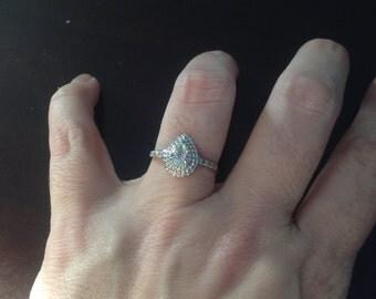 SALE! 10k White Gold Blue Topaz & Diamond Ring -- Size 7