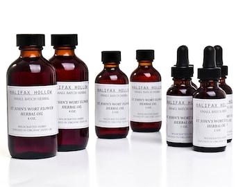 St John's Wort Herbal Oil- Nerve Pain- Self Care Gifts- Sensitive Skin- Sore Muscle Rub- Massage Oil- Small Batch- Herbal Salve Base