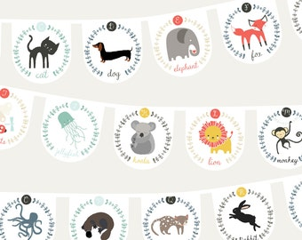DIY instant printable alphabet bunting, Do it yourself name banner, educational abcs, animal bunting, circle bunting