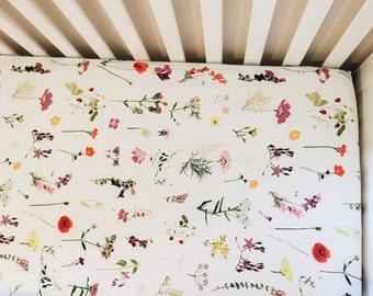 baby crib sheet // fitted crib sheet // WILDFLOWERS