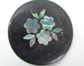 Antique Victorian Inlaid Papier Mache  Button