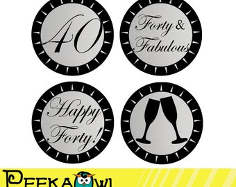 Instant Download Champagne Silver and Black 40th Birthday Cupcake Toppers - Printable 40th birthday topper, Favor tags, and Sticker!!!