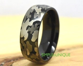 camo wedding band camouflage military titanium ring lightweight ring hunting wedding ring for - Camo Wedding Rings For Him