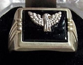 Vintage Avon Desert Rose Trading Sterling Silver Black Onyx / Eagle Size 13 60% Off