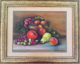 Soft Pastel Painting Still life with fruit