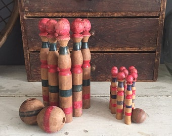 Vintage French Wooden Skittles