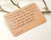 Copper Wallet Insert Card - Customized personal messages - Husband, Boyfriend Gift 7 Year, Valentine Day Gift- Personalized Anniversary Gift