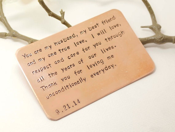 Copper Wallet Insert Card  Customized personal messages  Husband