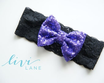 Toddler 17 Inches: Large Violet Sparkle Sequin bow on Black Lace. FINAL SALE