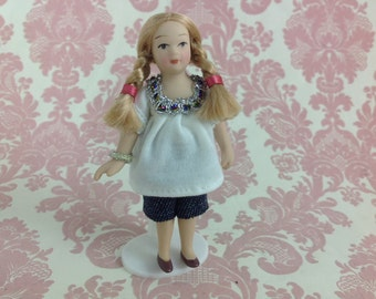 Dollhouse Miniature Porcelain Little Braids Girl Poseable Ceramic Doll with Stand 1:12