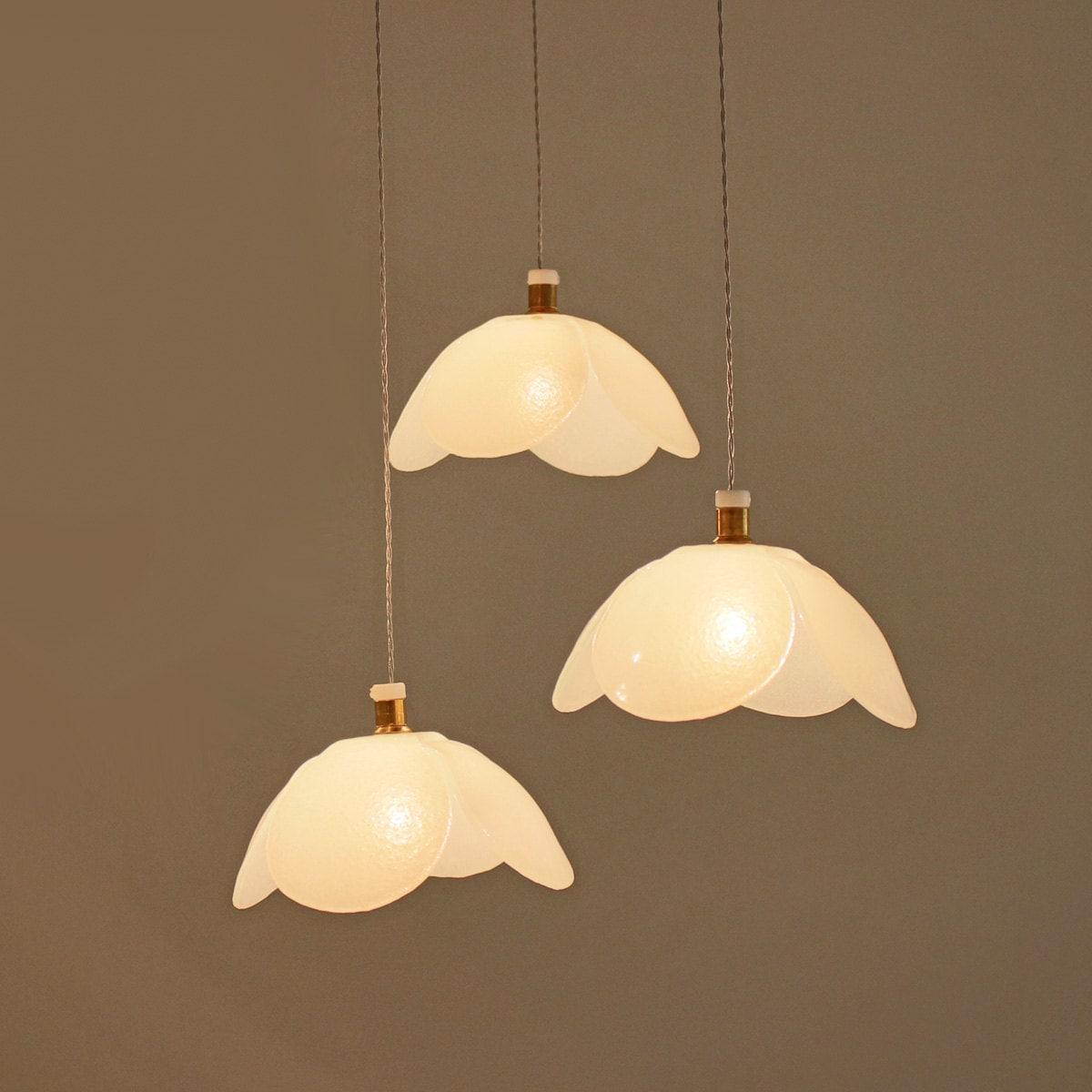 Art glass pendant lights flower white chandelier lighting Artisan glass pendant lights
