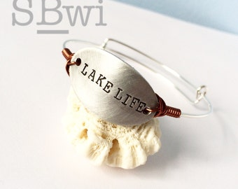 Lake life adjustable bangle in aluminum, stainless steel and copper