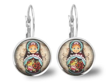 babushka Lever Back Glass Earrings