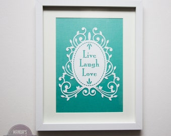 Live, laugh, love framed papercut