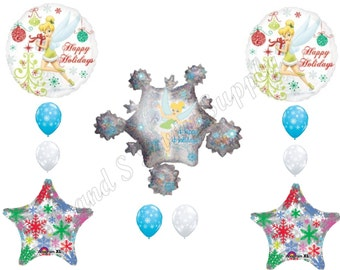 TINKERBELL HAPPY HOLIDAYS Christmas Snowflakes Balloons Birthday party Decoration Supplies