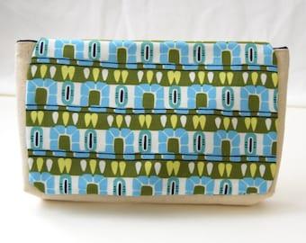 Clutch Purse - Blue and Lime Hopscotch Print